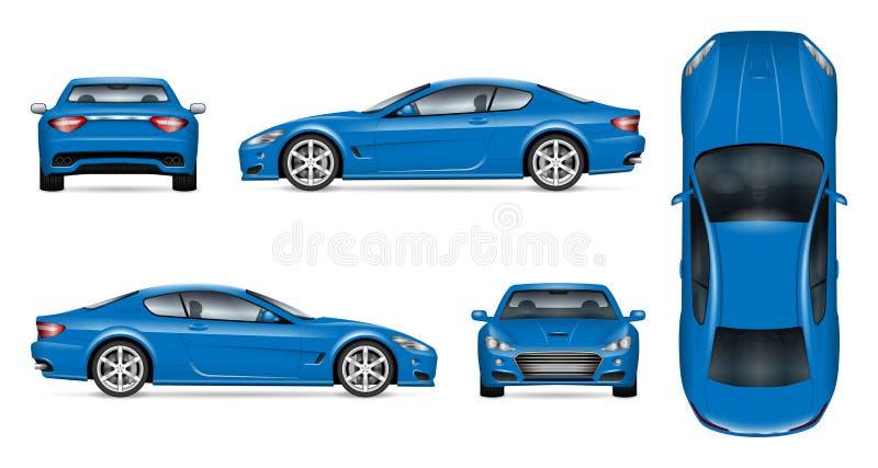 Realistisk vektorillustration för blå sportbil royaltyfri illustrationer