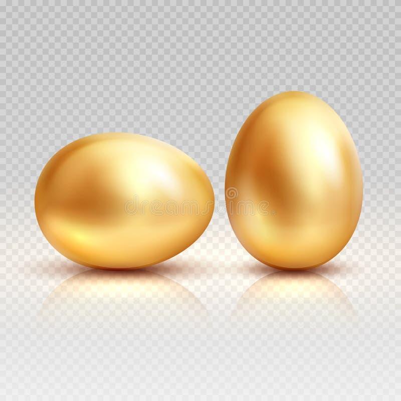 Realistisk vektorillustration för guld- ägg för easter hälsningkort vektor illustrationer
