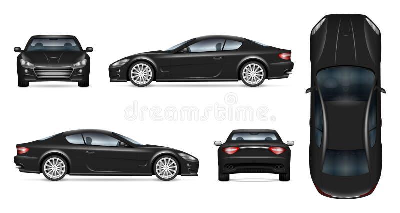 Realistisk vektorillustration för svart sportbil royaltyfri illustrationer