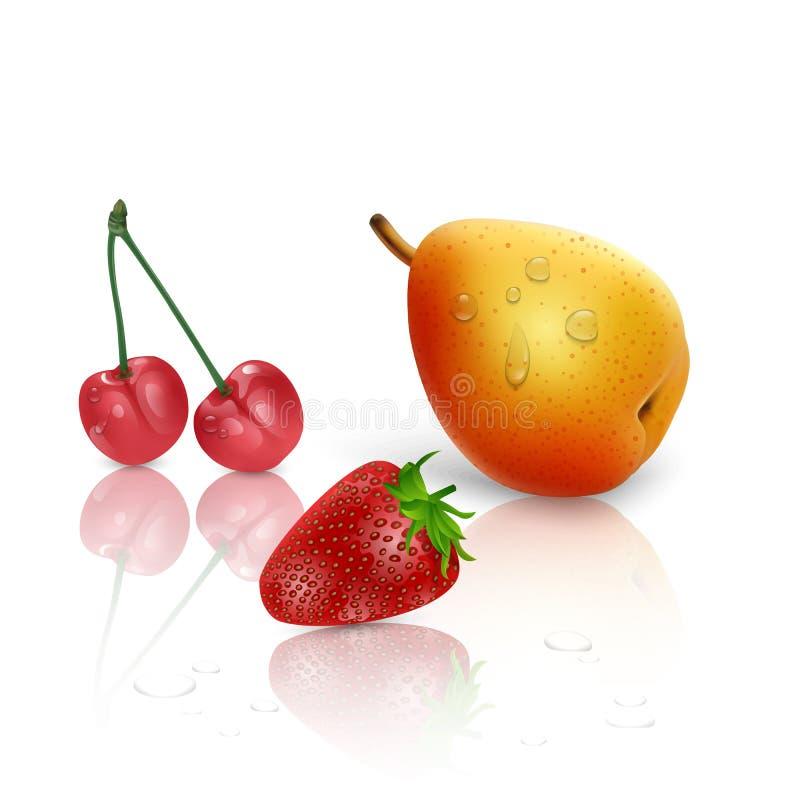 Realistisk vektorillustration med päronet, jordgubben och körsbäret på vit bakgrund, illustration 3D för din design stock illustrationer