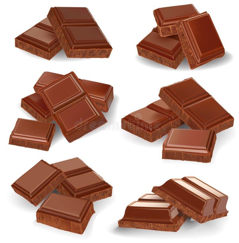 Realistisk vektorillustration, uppsättning av brutna chokladstänger royaltyfri illustrationer