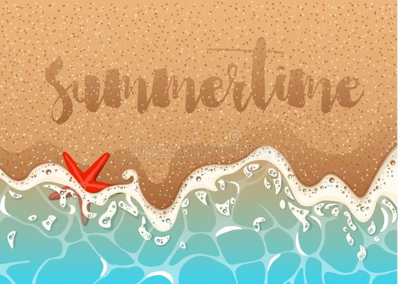 Realistisk vektorram av den azura skummande vågen, sjöstjärnan och skal Realistisk vektorbakgrund av en sandig strand med azur sk stock illustrationer