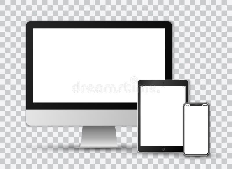 Realistisk vektoruppsättning på genomskinlig bakgrund av en modern smartphone, en minnestavla och en datorskärm med vita skärmar royaltyfri foto