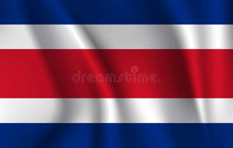 Realistisk vinkande flagga av den vinkande flaggan av Costa Rica, högt texturerad flödande flagga för upplösning tyg, vektor EPS1 stock illustrationer