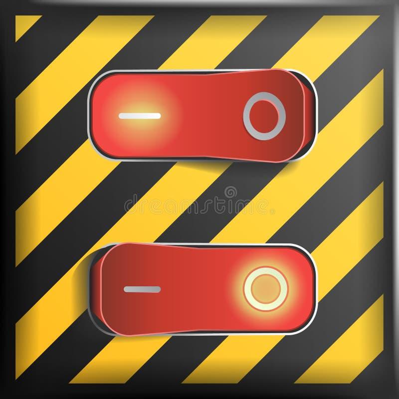 Realistisk vippströmbrytarevektor Farabakgrund Röda strömbrytare med på, av position Kontrollillustration royaltyfri illustrationer