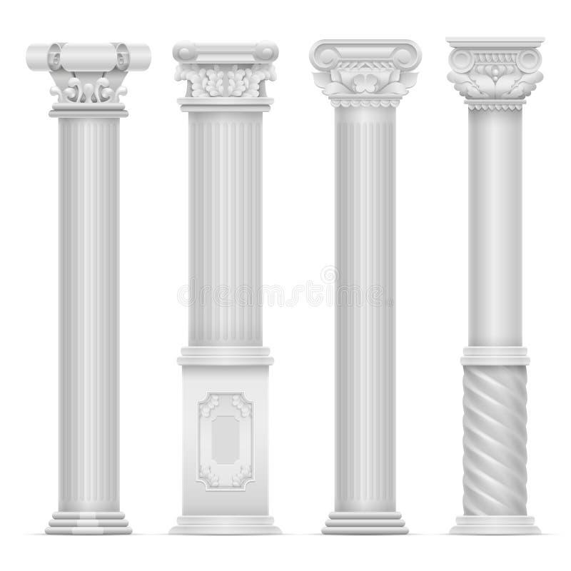 Realistisk vit antik roman kolonnvektoruppsättning Kolonner för byggnadssten vektor illustrationer