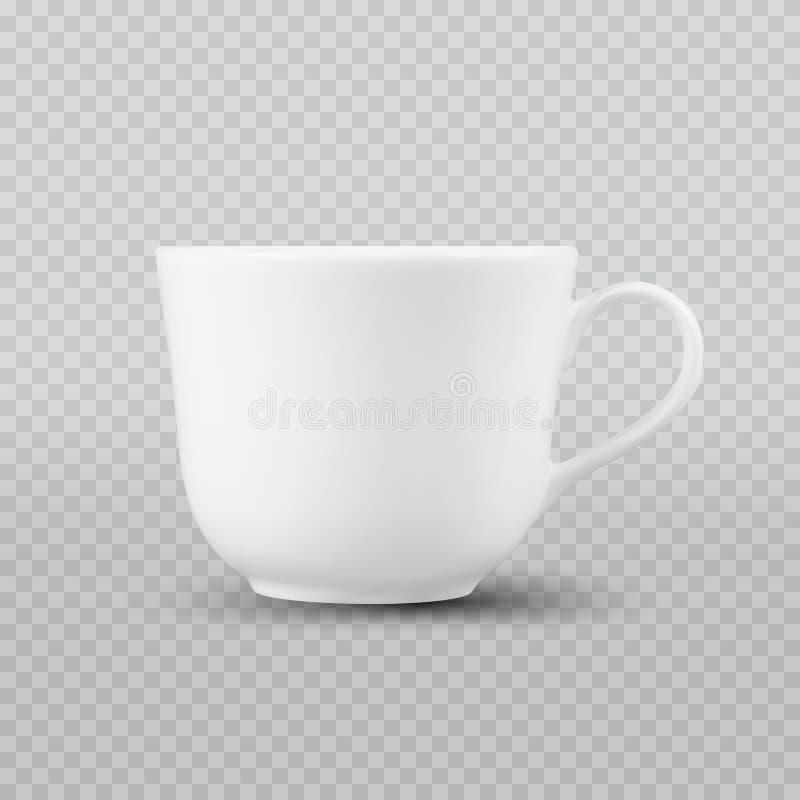 Realistisk vit kopp för foto som isoleras på plädet som är genomskinlig som bakgrund royaltyfri bild