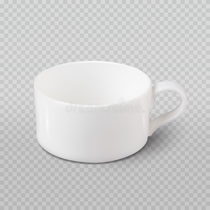 Realistisk vit kopp för foto som isoleras på plädet som är genomskinlig som bakgrund royaltyfri fotografi