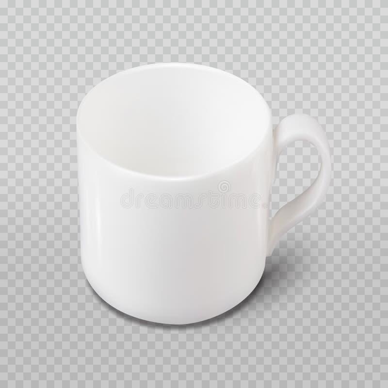 Realistisk vit kopp för foto som isoleras på plädet som är genomskinlig som bakgrund royaltyfria bilder
