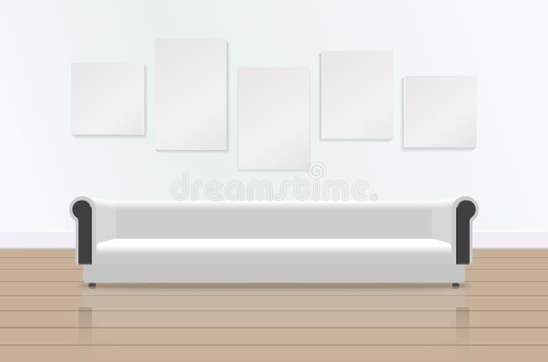 Realistisk vit lång mjuk soffa med reflexion på golvet Lyxig soffa och bilder på väggen strömförande modern lokal stock illustrationer