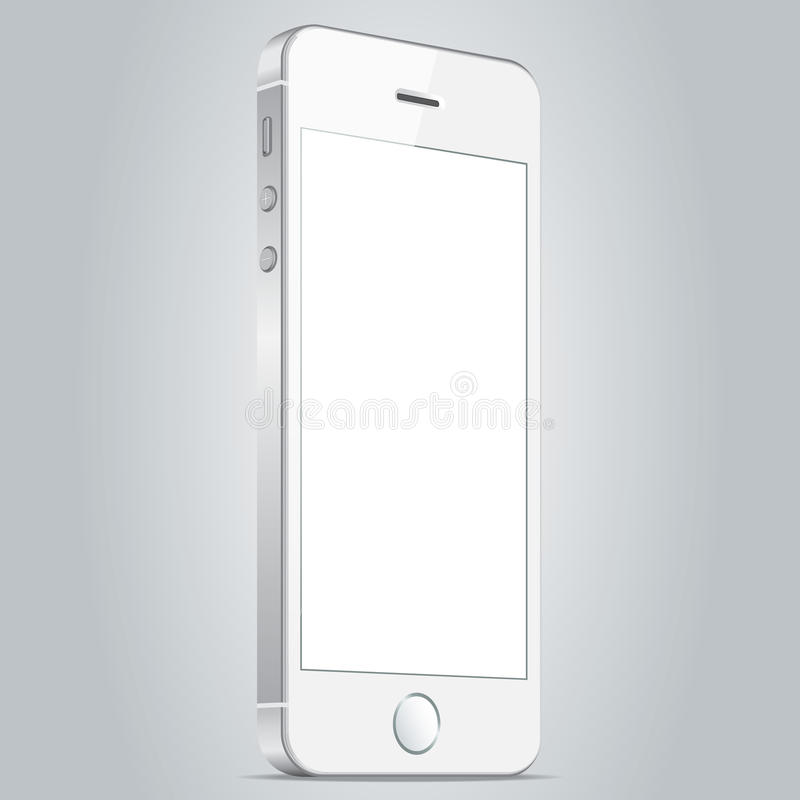 Realistisk vit mobiltelefon Vektorillustration EPS10 stock illustrationer