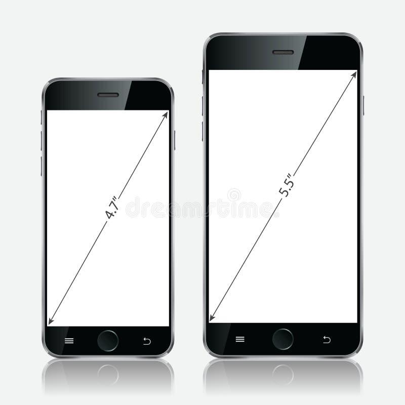 Realistisk vit mobiltelefon Vektorillustration EPS10 vektor illustrationer