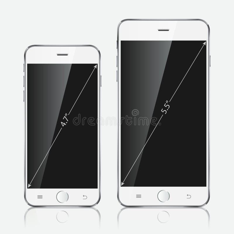 Realistisk vit mobiltelefon Vektorillustration EPS10 royaltyfri illustrationer