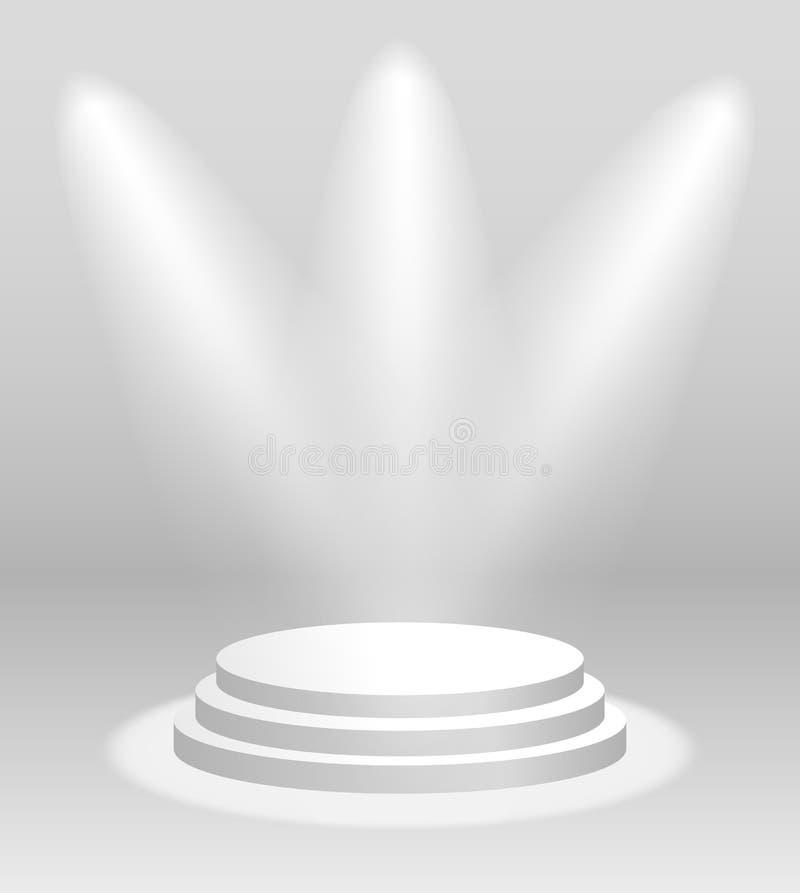 Realistisk vit podium eller sockel för vektor med strålkastare för ceremoni eller utställning vektor illustrationer