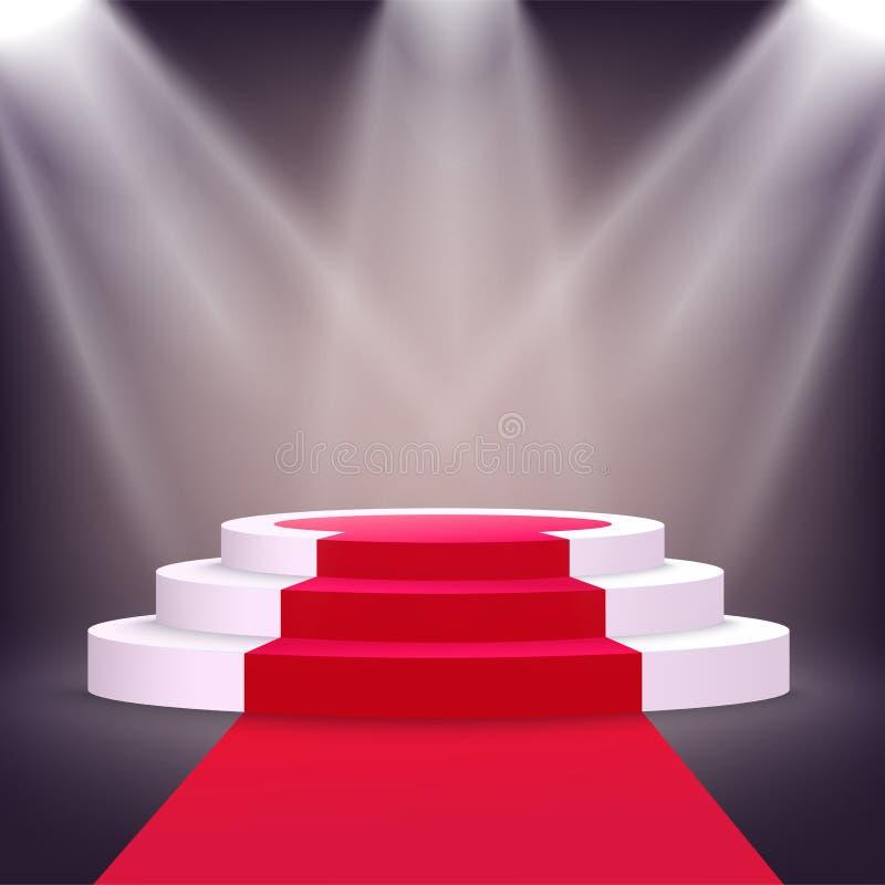 Realistisk vit podiumetapp med röd matta som tänds från åtskilliga strålkastare vektor illustrationer