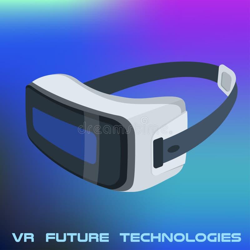 Realistisk VR-exponeringsglasaffisch på vibrerande lutning royaltyfri illustrationer