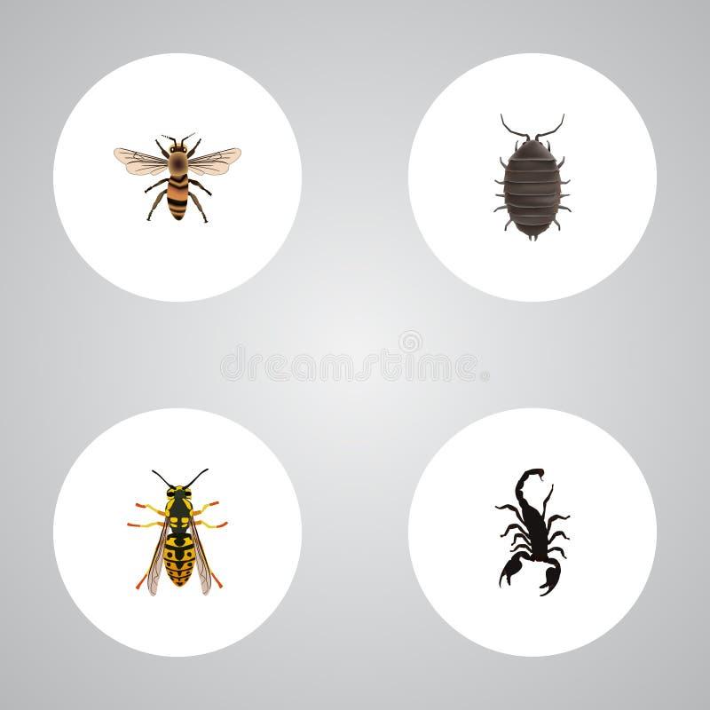 Realistisk Wasp, giftigt, bi och andra vektorbeståndsdelar Uppsättningen av realistiska symboler för fel inkluderar också biet, S royaltyfri illustrationer