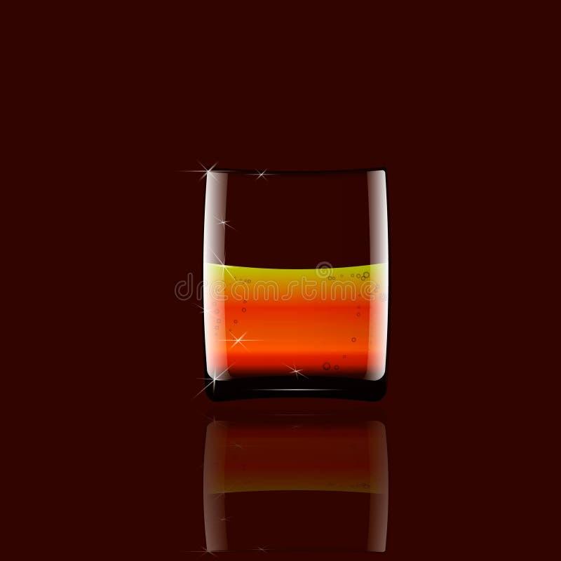 Realistisk whisky i genomskinligt exponeringsglas med spegelreflexionen som blir på en glass tabell arkivfoton