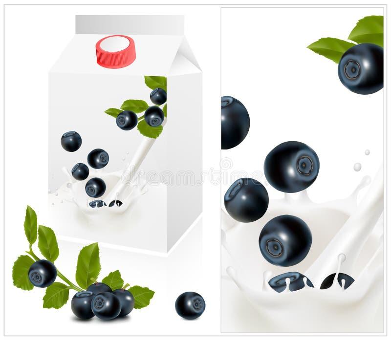 realistisk yoghurt för blått emballagefoto vektor illustrationer
