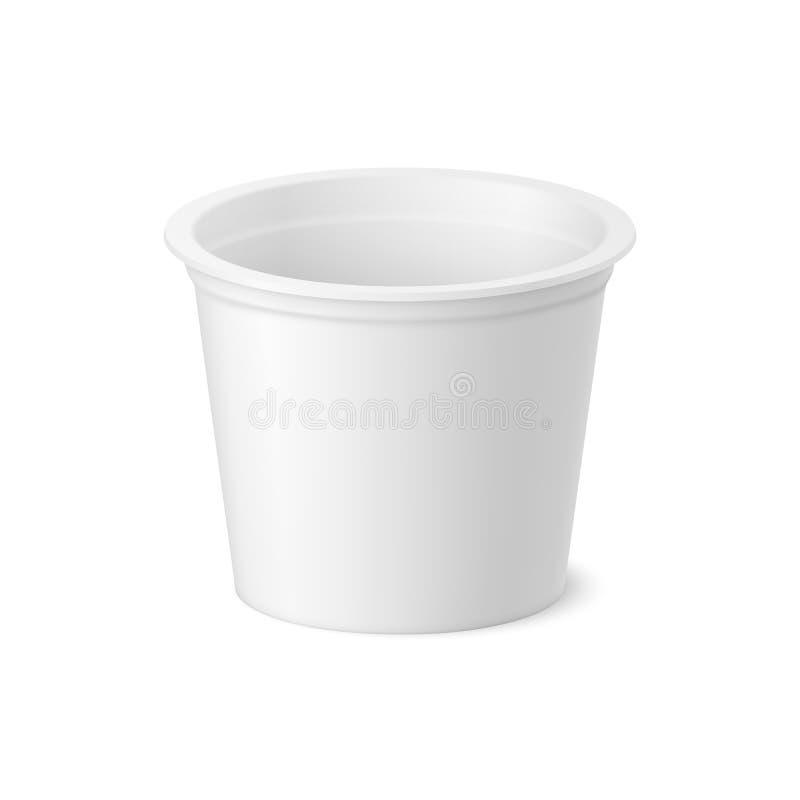Realistisk yoghurt för vektor, glass eller sur krämpacke på vit backgrounnd royaltyfri illustrationer