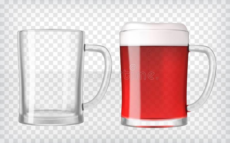 Realistiska ölexponeringsglas - röda öl och tomma rånar stock illustrationer