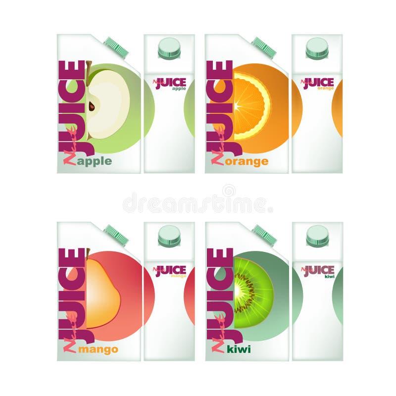 Realistiska askar för fruktsaft: med smakäpplet mango, kiwi, apelsin royaltyfri illustrationer