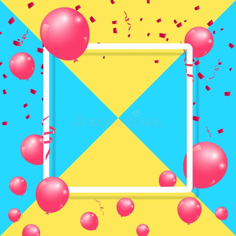 Realistiska ballonger firar festlig design för ferieparti med konfettier, bandet och den fyrkantiga ramen på mångfärgad bakgrund vektor illustrationer