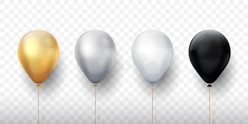 Realistiska ballonger Guld- genomskinliga ballonger för parti 3d, försilvrar vit födelsedaggarnering Uppsättning för vektorpartib vektor illustrationer