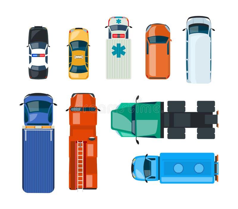 Realistiska bilar och lastbilar: polisen taxi, nödläge, brandservice, lastbilsförare vektor illustrationer
