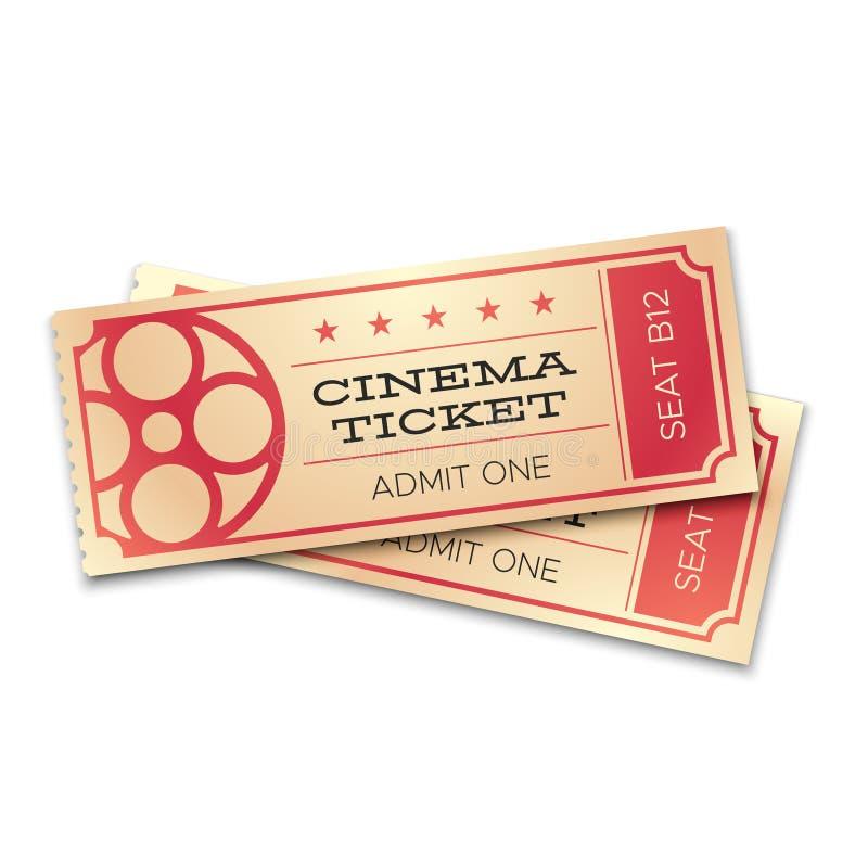 Realistiska biljetter för bio två eller för teater med barcoden Medge nu kuponger för paringång Isolerad filmbiljettvektor stock illustrationer