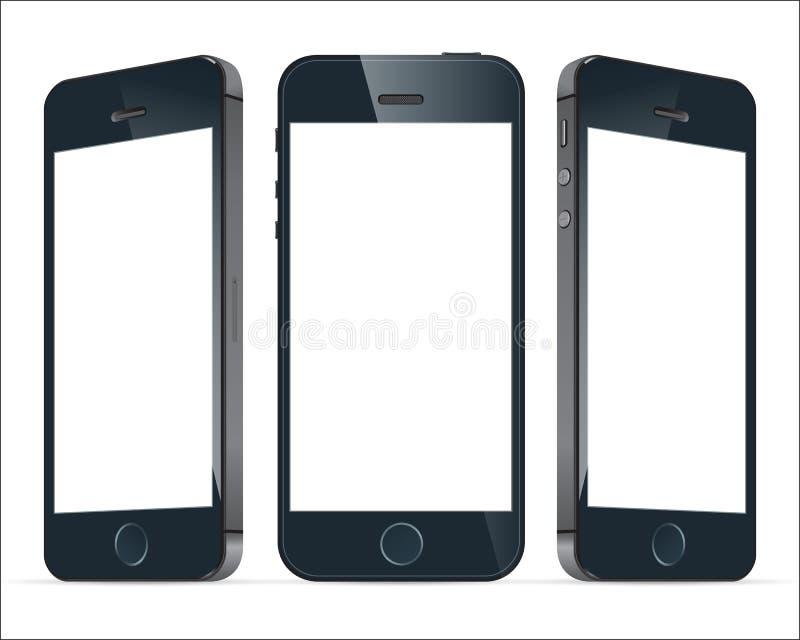 Realistiska blåa mobiltelefoner Illustrationbild vektor vektor illustrationer
