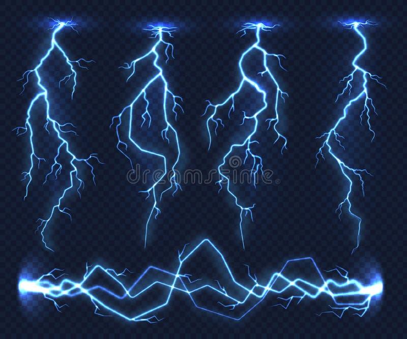 Realistiska blixtar Åskväder för storm för elektricitetsåskaljus prålig i moln Laddning för naturmaktenergi, åska royaltyfri illustrationer