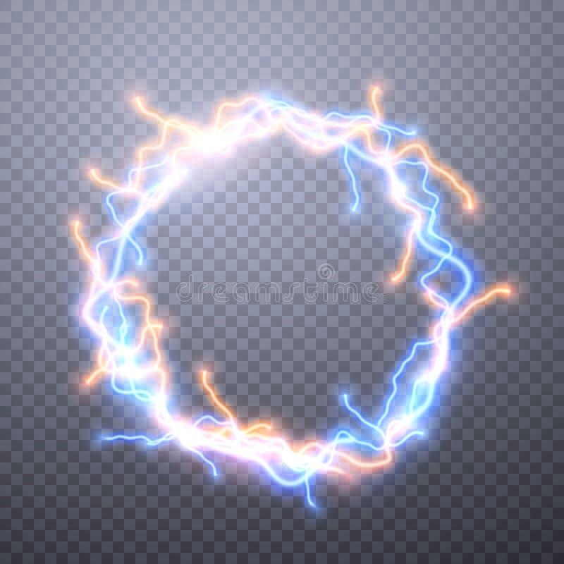 Realistiska blixtar med stordian för design Digital effekt av att gl?da, elektrisk urladdning, designgarnering vektor royaltyfri illustrationer