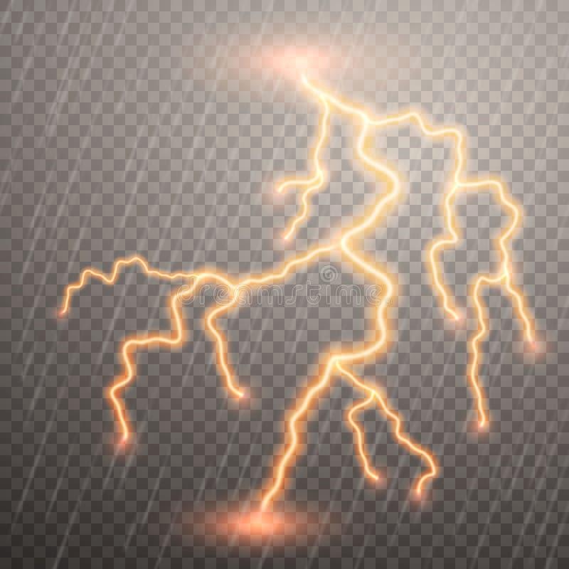 Realistiska blixtar med stordian f?r design ?ska-storm och blixtar Magiska och ljusa belysningeffekter vektor royaltyfri illustrationer