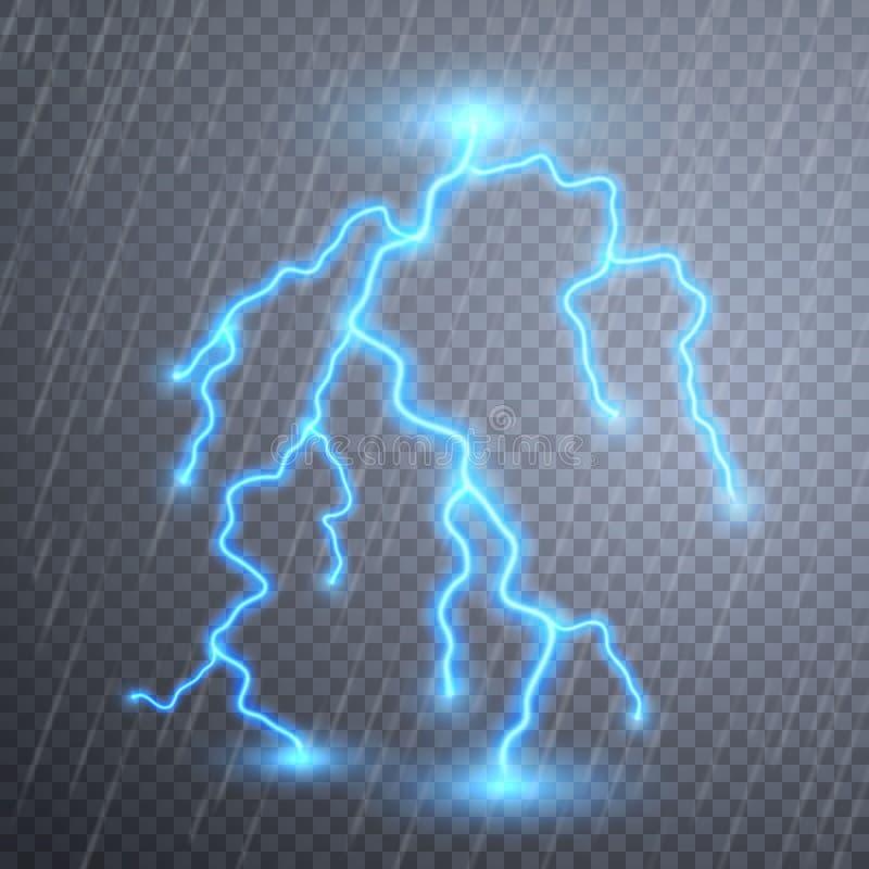 Realistiska blixtar med stordian f?r design ?ska-storm och blixtar Magiska och ljusa belysningeffekter vektor vektor illustrationer