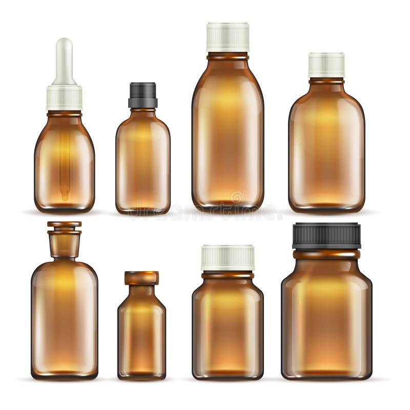 Realistiska bruna glass medicin- och skönhetsmedelflaskor, läkarundersökning som förpackar den isolerade vektoruppsättningen royaltyfri illustrationer
