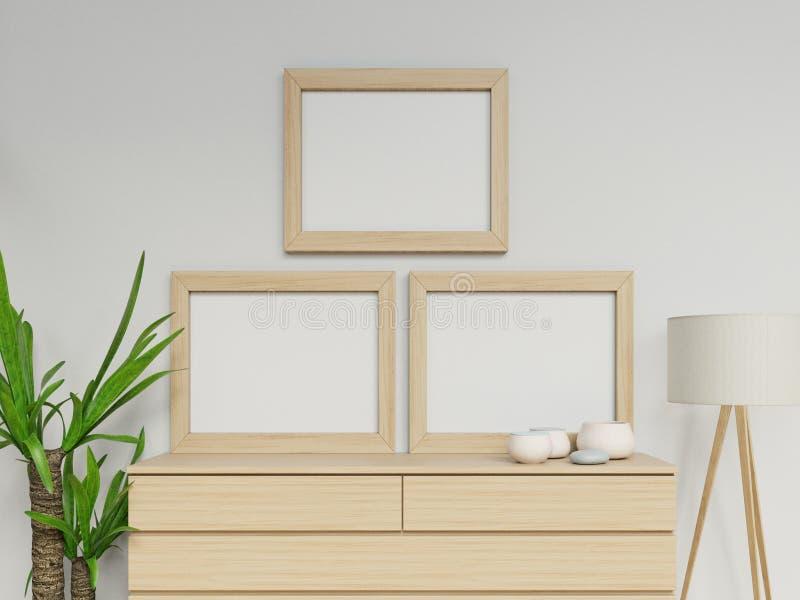 Realistiska 3d framför av hemtrevlig hemmiljö med affischåtlöje för mellanrum två a3 upp design med den vertikala ljusa träramen  vektor illustrationer