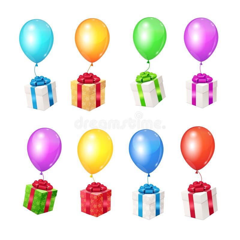 Realistiska 3d specificerade färgballonger och gåvaaskar vektor royaltyfri illustrationer