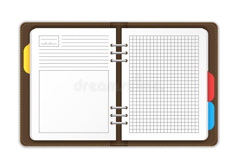 Realistiska detaljerade 3d tömmer mallorganisatören Planner vektor stock illustrationer