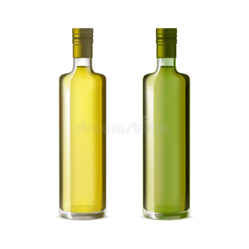 Realistiska detaljerade Olive Oil Glass Bottle Set vektor royaltyfri illustrationer
