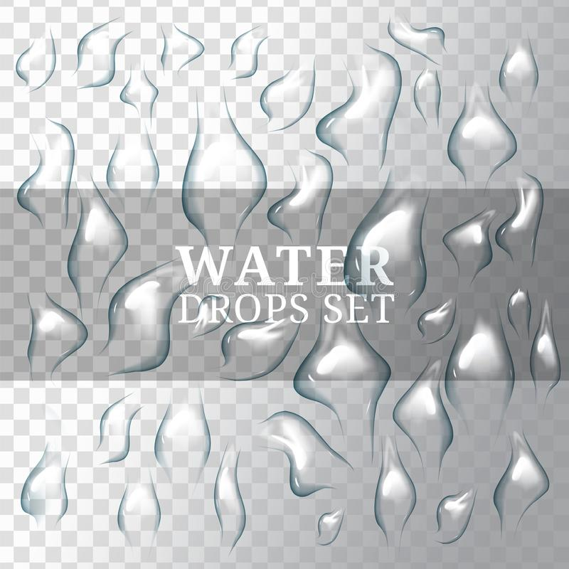 Realistiska droppar av vatten med, flytande på genomskinlig och vit bakgrund vektor illustrationer