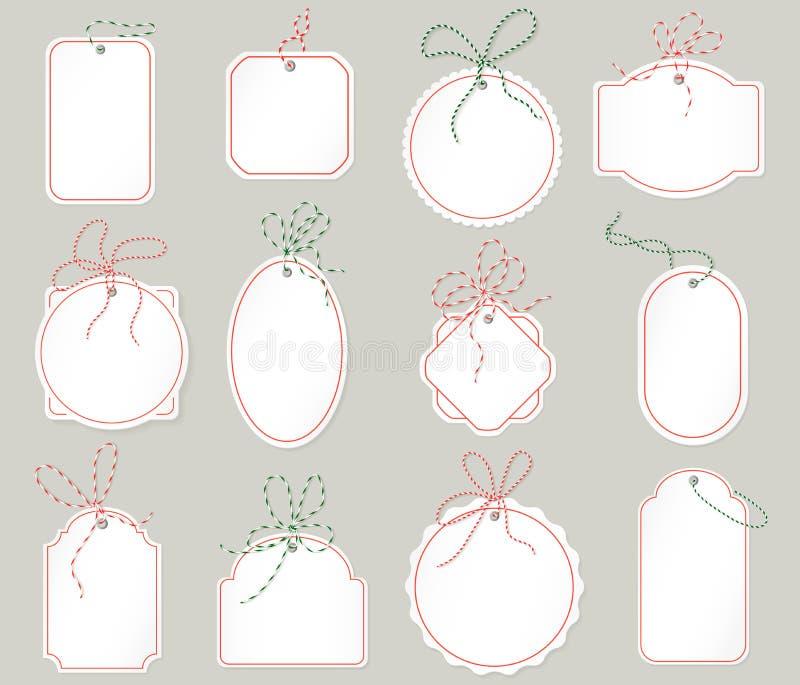 Realistiska etiketter för papptappningförsäljning Prislappar för nytt år för jul för vektor återförsäljnings- vektor illustrationer
