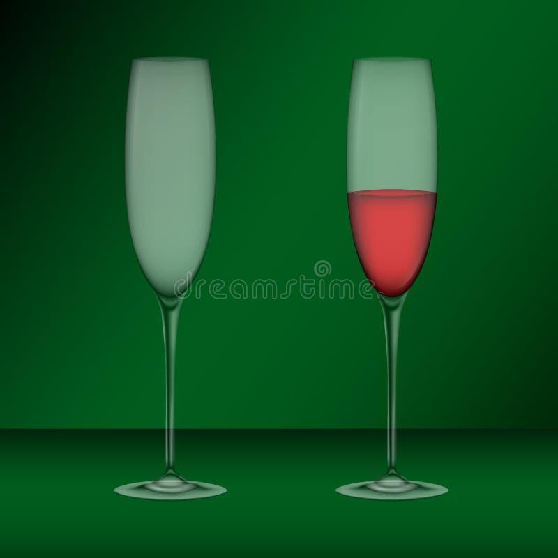 Realistiska exponeringsglas, emty och fyllt med vin royaltyfri illustrationer