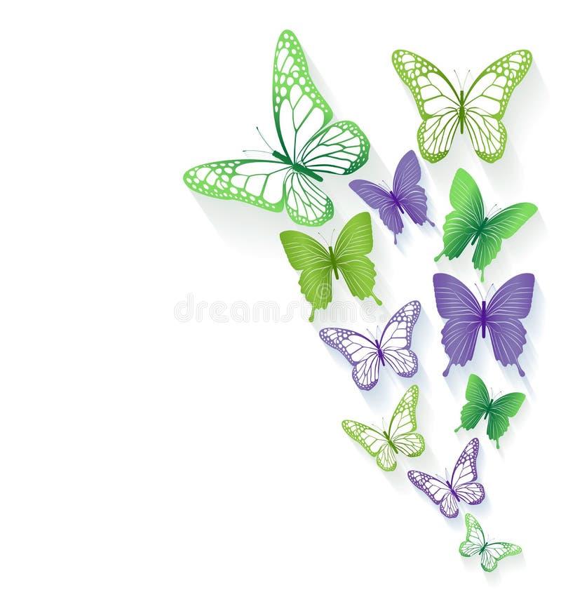 Realistiska färgrika fjärilar som isoleras för vår royaltyfri illustrationer