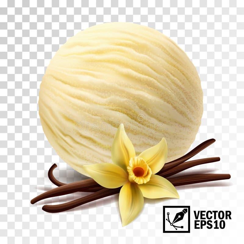 realistiska för vaniljglass för vektor 3d blomma och pinnar för vanilj för skopor royaltyfri illustrationer