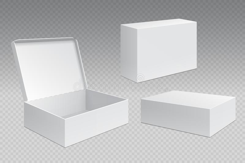 Realistiska förpackande askar Den vita öppna papppacken, tomma annonsmarknadsföringprodukter förlöjligar upp Fyrkantig behållare  stock illustrationer
