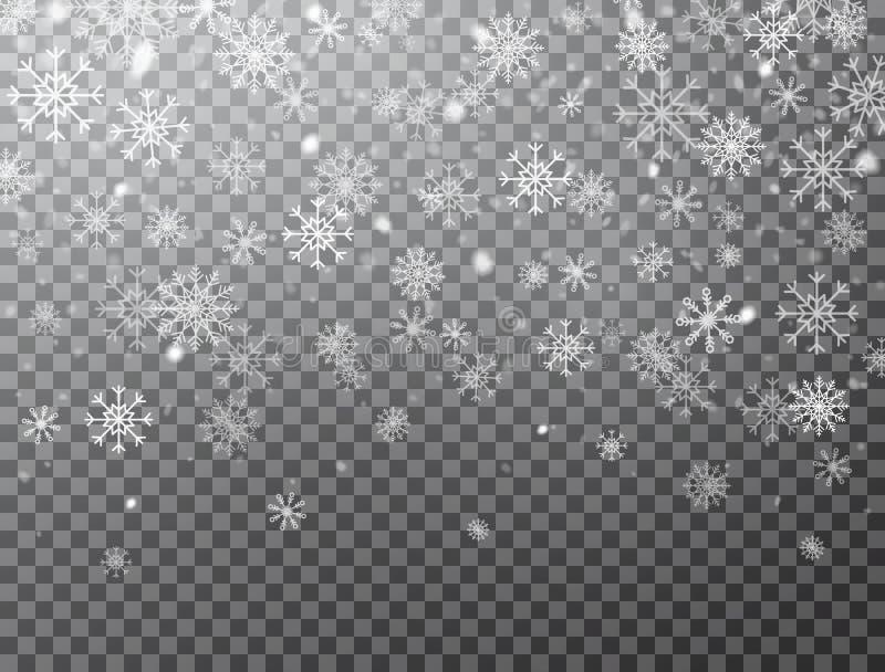 Realistiska fallande snöflingor som isoleras på genomskinlig bakgrund Vinterbakgrund med snö och snöflingor Magisk vit stock illustrationer