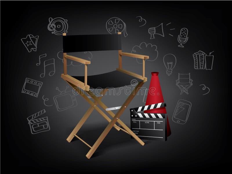 Realistiska filmbeståndsdelar med klotter royaltyfri illustrationer