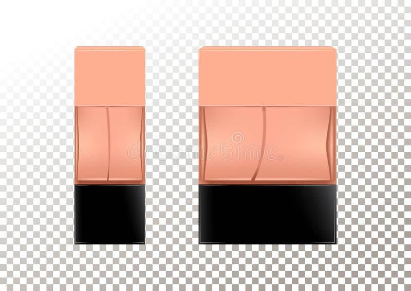 Realistiska flaskor för vektor för kosmetiska produkter, doft, toalettvatten Genomskinlig flacon med ett svart lock isolerat royaltyfri illustrationer