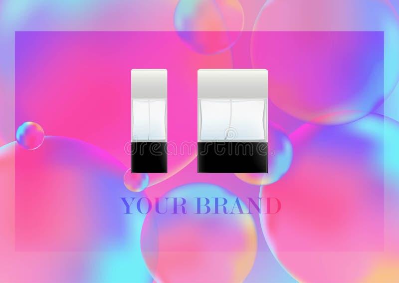 Realistiska flaskor för vektor för kosmetiska produkter, doft, toalettvatten Genomskinlig flacon med ett svart lock isolerat stock illustrationer